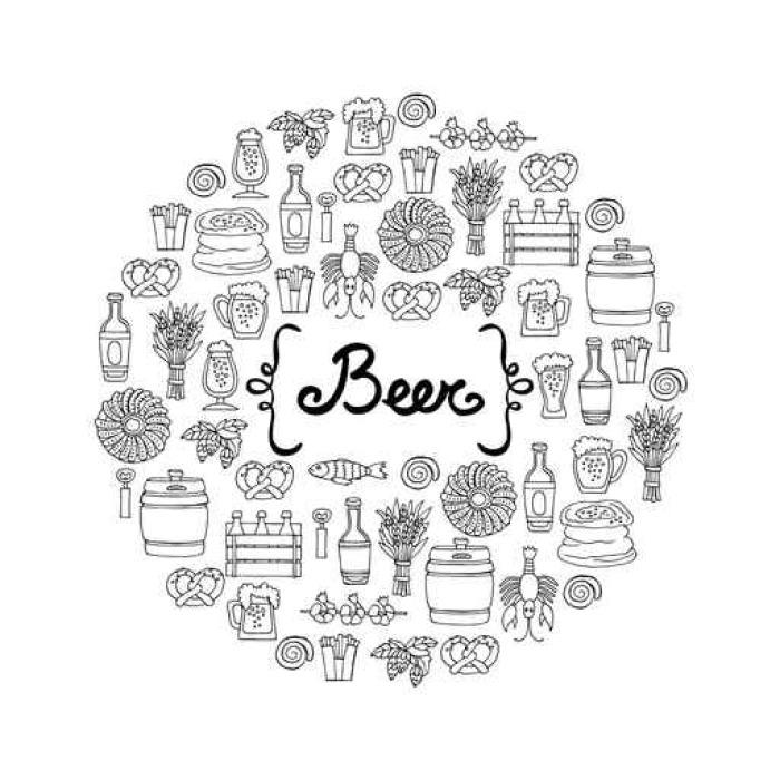 Vinylová Tapeta Kryt s ručně nakresleného lahví a sklenicí piva, občerstvení v náčrtu stylu. Vzor na téma piva - Pití