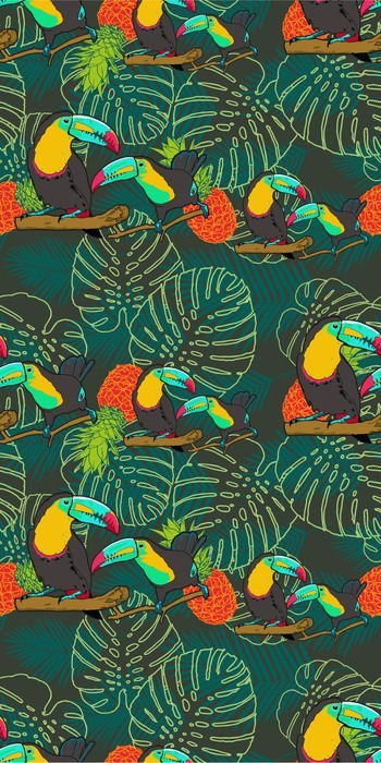 papier peint motif tropical seamless toucan pixers nous vivons pour changer. Black Bedroom Furniture Sets. Home Design Ideas