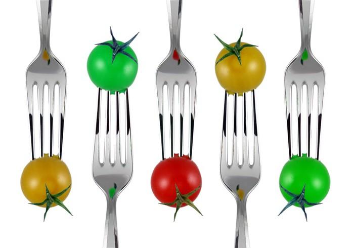 Papier Peint Vinyle Forchette e pomodorini colorati -