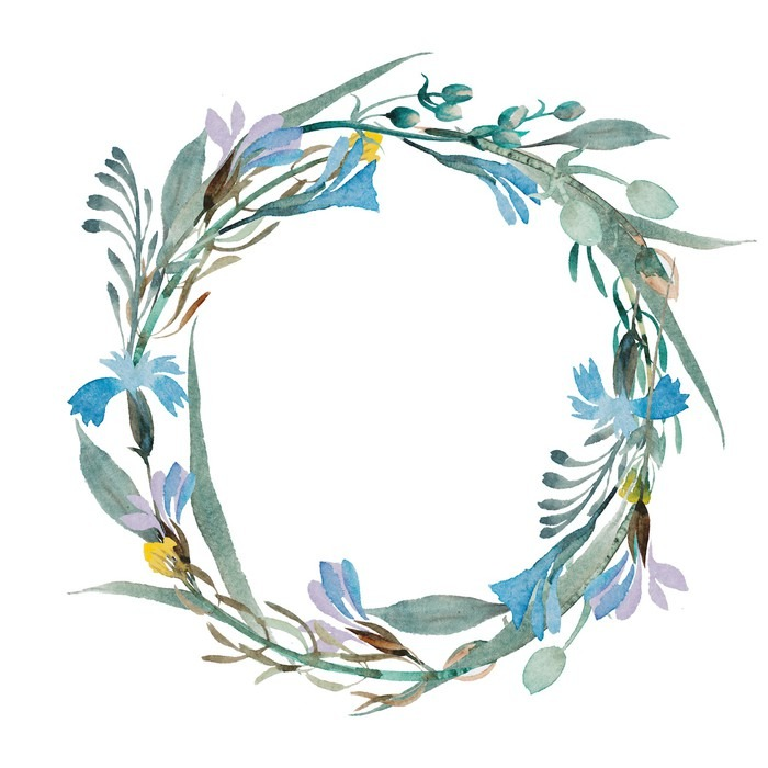 Romantic wreath of blue flowers painted in watercolor pixerstick sticker plants and flowers