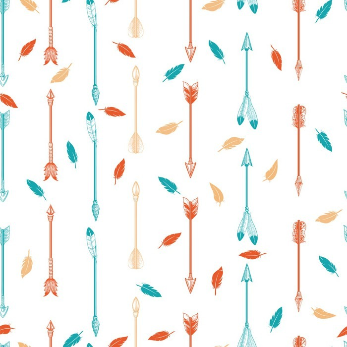 colorful boho seamless pattern with arrows and feathers vector