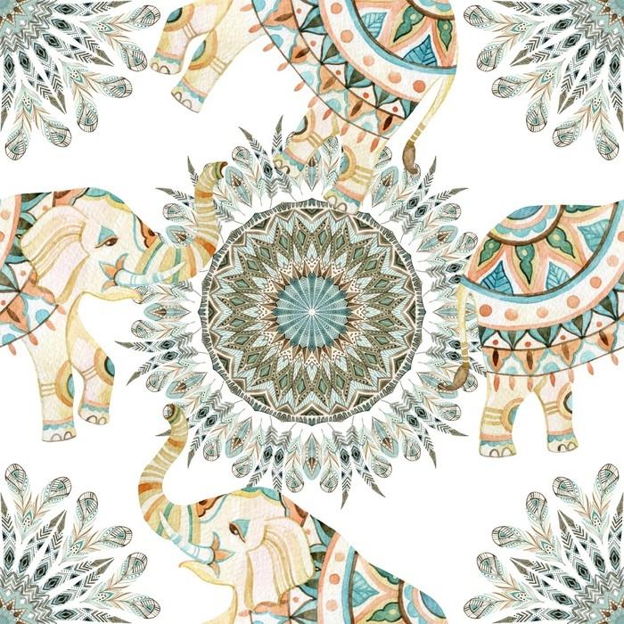 papier peint plumes ethniques aquarelles abstraite mandala. Black Bedroom Furniture Sets. Home Design Ideas