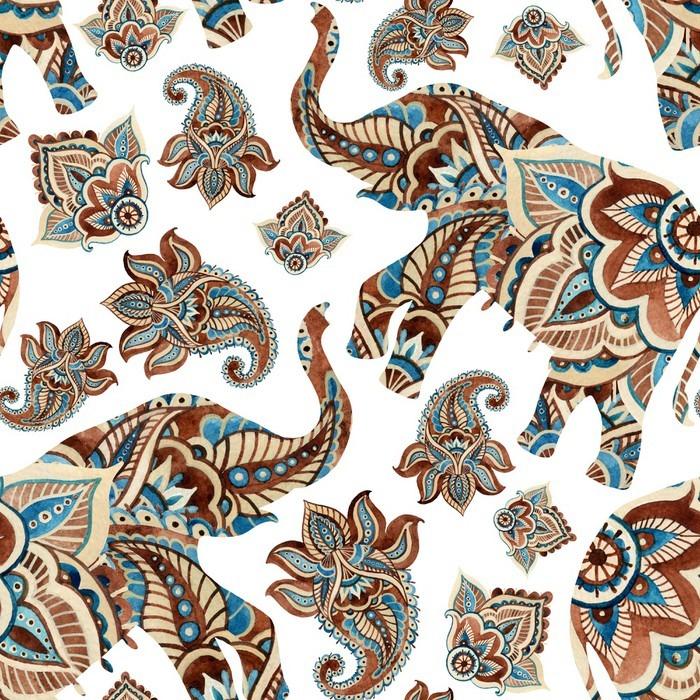 Nálepka Pixerstick Akvarel etnické slon s Paisley prvky pozadí. - Zvířata