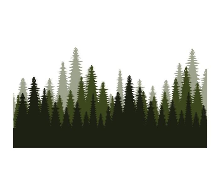 Pixerstick Sticker Bomen bos gebied pictogram vectorillustratieontwerp - Grafische Bronnen