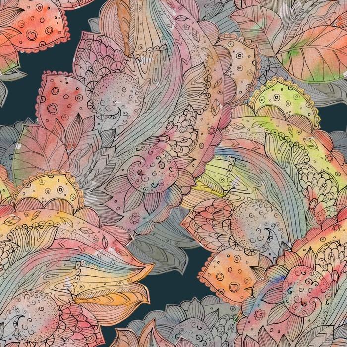 Papier peint autocollant La mode texture transparente avec motif abstrait floral. watercolo - Passe-temps et loisirs