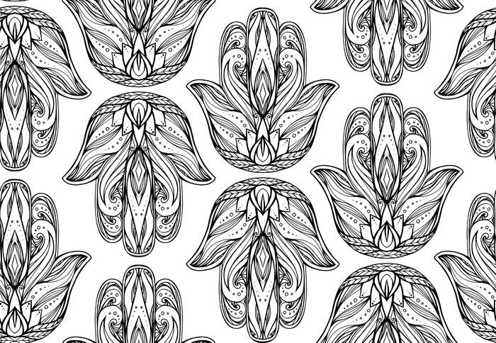 fototapete nahtlose muster mit kontur illustration von hamsa mit boho muster hand von buddha vector hintergrund fr tapeten wrapper druck auf t shirts - Boho Muster