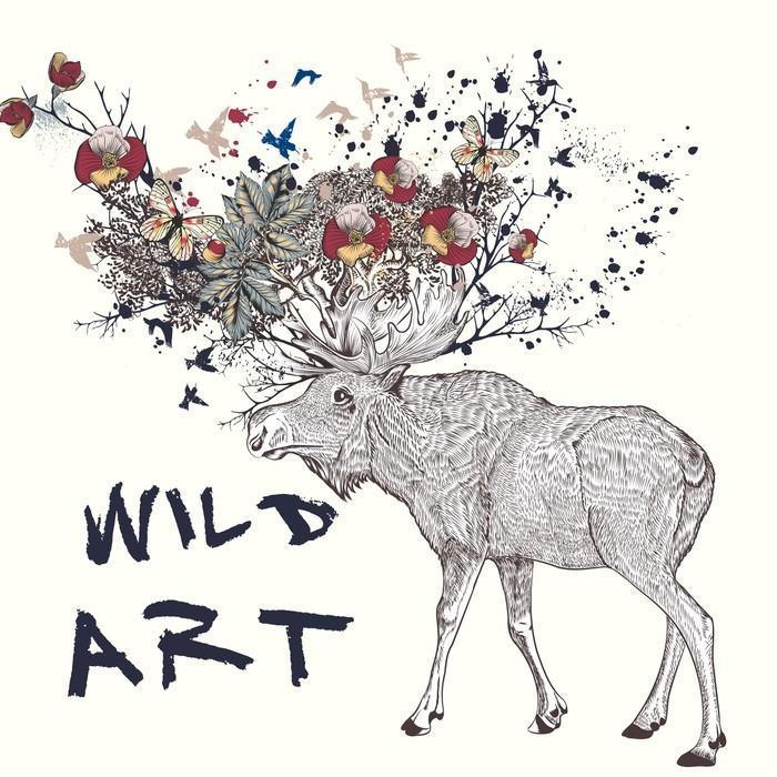 Vinilo Pixerstick Ilustración con alces, dibujados a mano, flores en ...