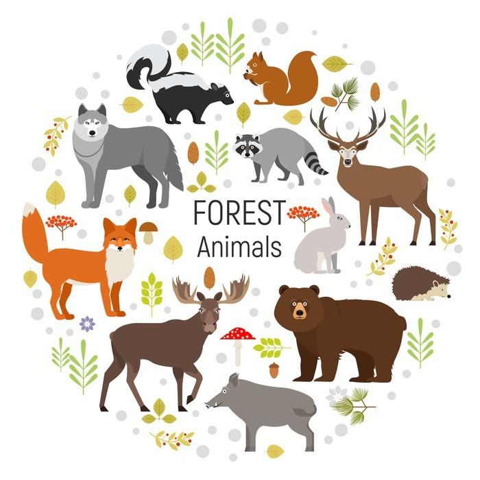 Vinilo Pixerstick Conjunto de animales del bosque en un círculo ...
