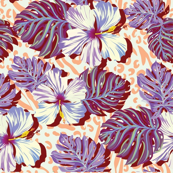seamless vector pattern for men aloha flowers in muted colors wall