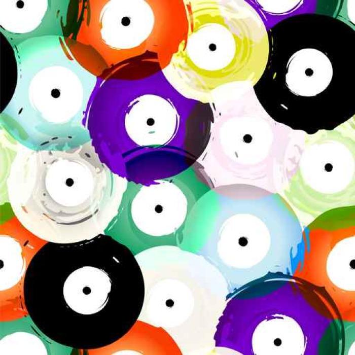 Selbstklebende Fototapete Nahtlose Vinyl-Schallplatten Hintergrund ...