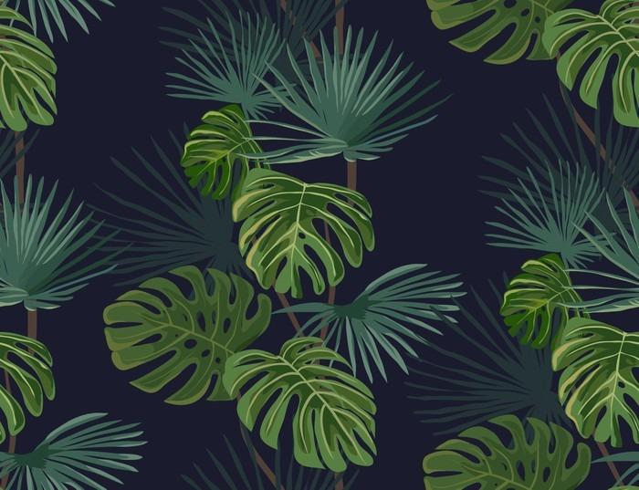 Carta da parati seamless pattern con foglie tropicali for Carta parati vinile