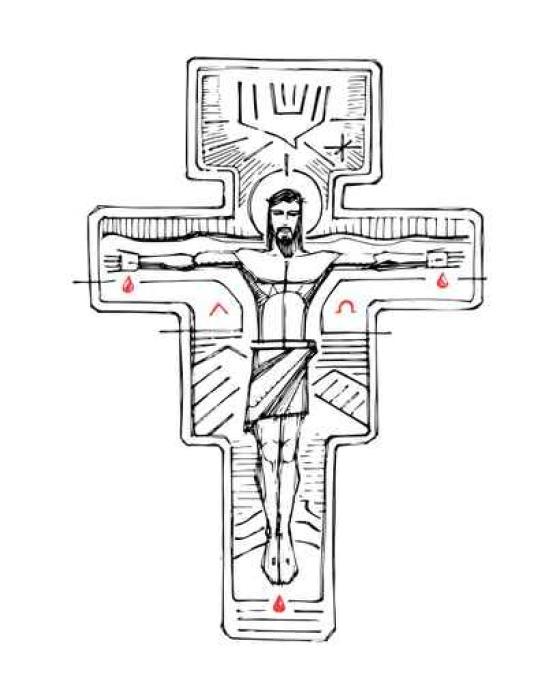 Jesus Christ At The Cross And Religious Symbols Sticker Pixers