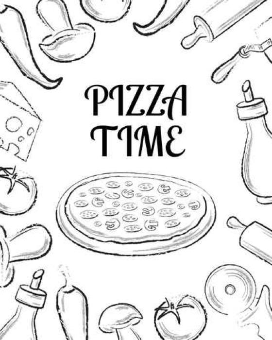 Fotomural Plantilla de portada de pizza menú de café con Ingrid ...
