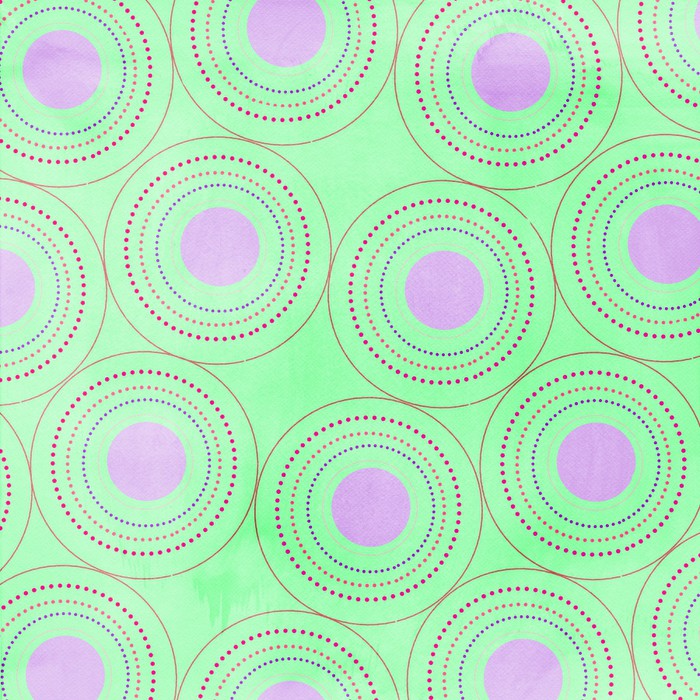 fond vert,ronds roses Wall Mural - Vinyl - Themes