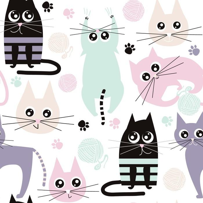 Fotomural Patrones sin fisuras con gatos graciosos. textura de la ...