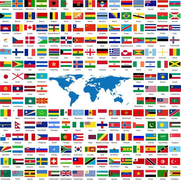 Fototapete Flaggen Aus Der Ganzen Welt