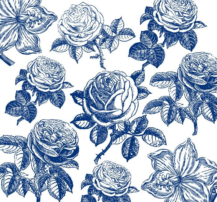 tableau sur toile classique papier peint avec un motif de fleur fragment pixers nous. Black Bedroom Furniture Sets. Home Design Ideas