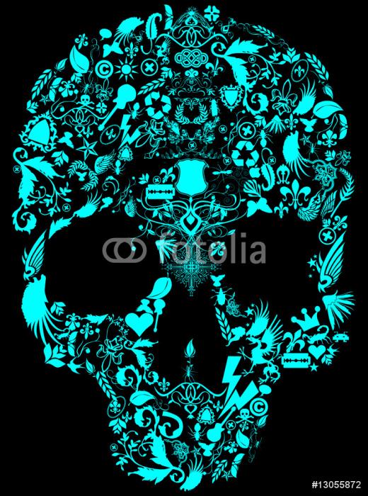 Papier Peint Vinyle Colored illustration de conception de crâne Imprimer - Abstrait