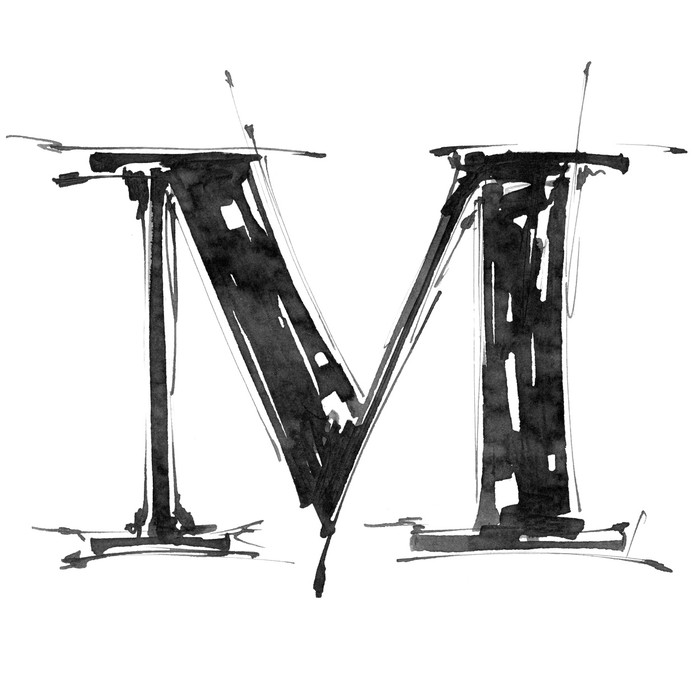 Vinylová Tapeta Písmeno M. abeceda symbol - grunge ruka kreslit malovat - Umění a tvorba