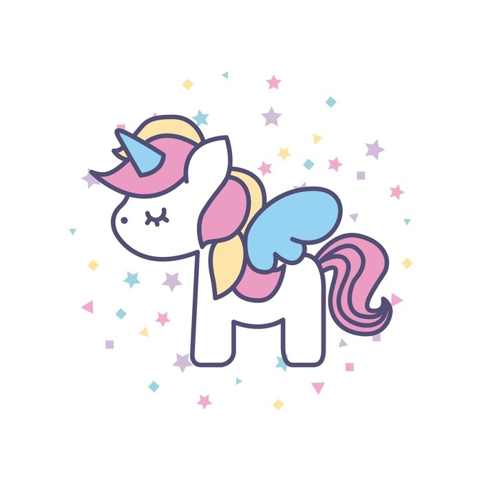 Drawing Cute Unicorn Icon Vector Illustration Design Wall