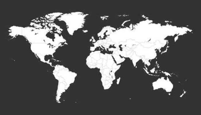 Blank white political world map isolated on black background blank white political world map isolated on black background worldmap vector template for website gumiabroncs Choice Image