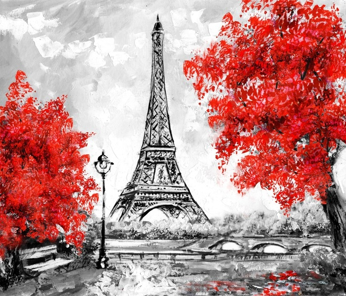 Oil Painting Paris European City Landscape France Wallpaper Eiffel Tower