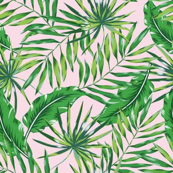 Green Palm Leaves On The Pink Background Vector Seamless