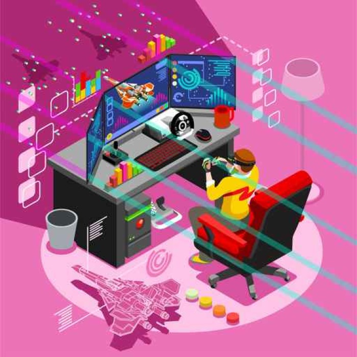 Video game screen and gamer person gaming online with console ...