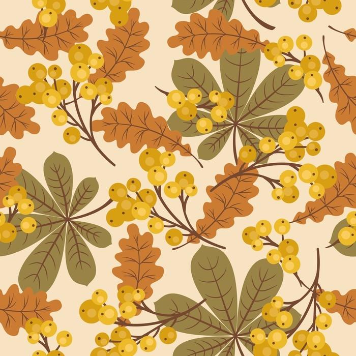 tableau sur toile automne automne motif sans soudure de feuilles et de baies pixers nous. Black Bedroom Furniture Sets. Home Design Ideas