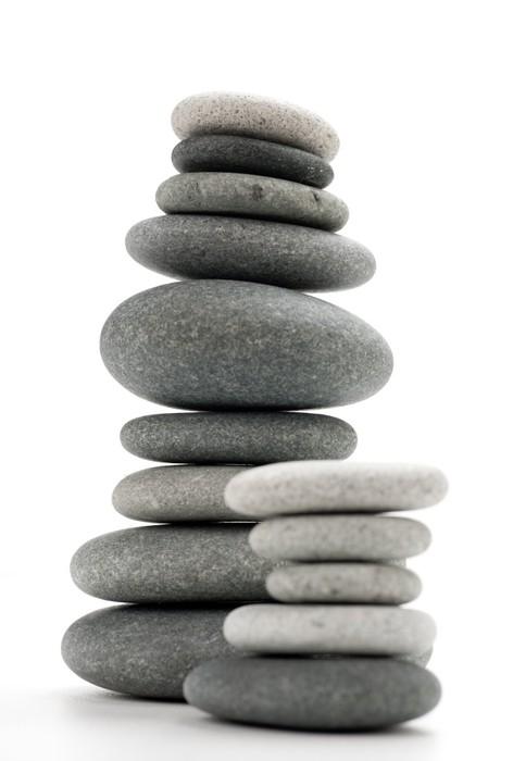 Plakát Obraz vyvažování kameny na bílém - vertikální obrázek - Struktury