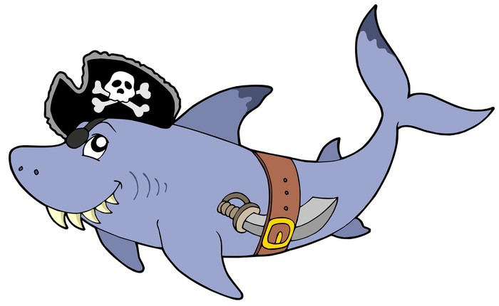 Cartoon Pirate Shark Wall Decal   Wall Decals