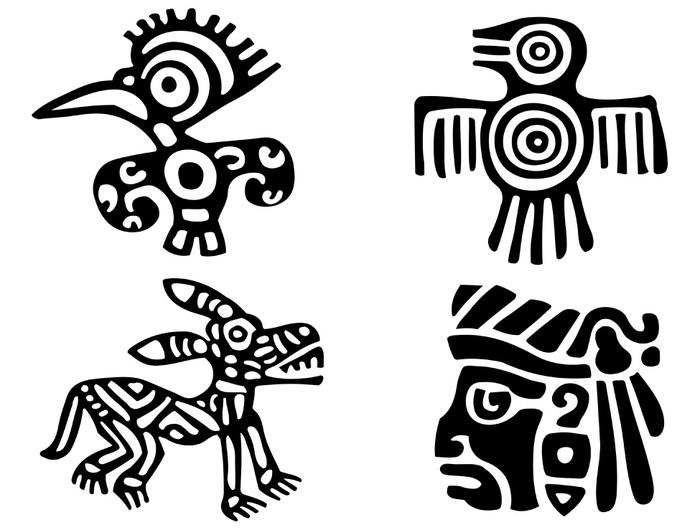 Vinylová Tapeta Fantastická zvířata a ptáci Aztéků - Části těla