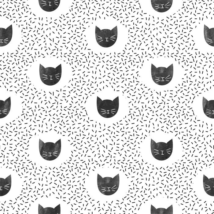Sticker Modèle de mode sans couture avec des chats noirs mignons. fond de  points de vecteur. Pixerstick