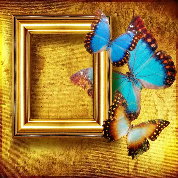 Fotomural Fondo enmarcado oro con mariposas • Pixers® - Vivimos para ...