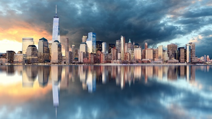 New York Skyline At Sunrise Wall Mural Pixers 174 We Live