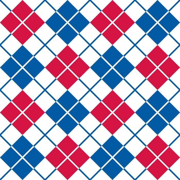 Tapete rautenmuster in rot wei und blau pixers wir for Tapete orientalisch blau