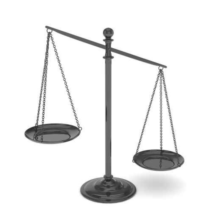 Isolated Black Scales On White Background Symbol Of Judgement Law