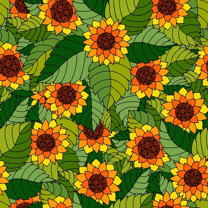 tapete buntes nahtloses muster mit sonnenblumen und bl ttern in der zigeunerart pixers wir. Black Bedroom Furniture Sets. Home Design Ideas
