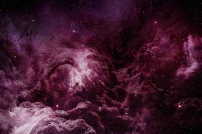 Pixerstick Aufkleber Lila Nebel und kosmischen Staub in Sternenhimmel - Naturwissenschaft