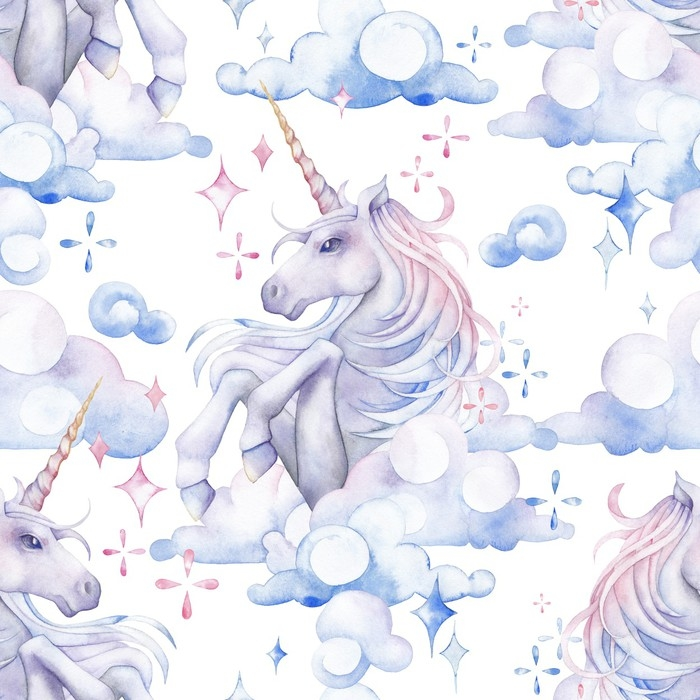 Cute watercolor unicorn Wall Mural Pixers We live to change