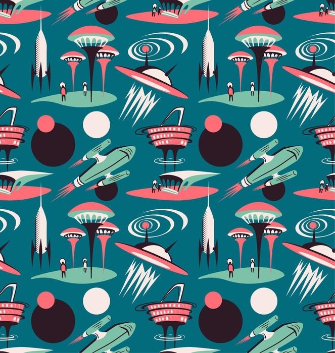 Nálepka Pixerstick Vesmírné město budoucnosti - vektorové bezproblémové vzorek. design vesmíru s raketami a moderním městem. - Grafika