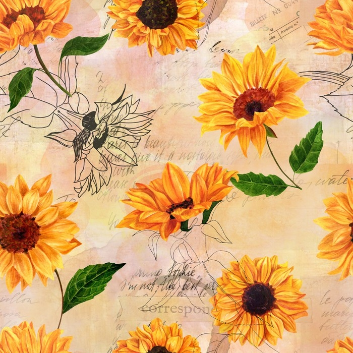 Seamless Pattern With Watercolor Sunflowers On Old Ephemera Vinyl Wall Mural