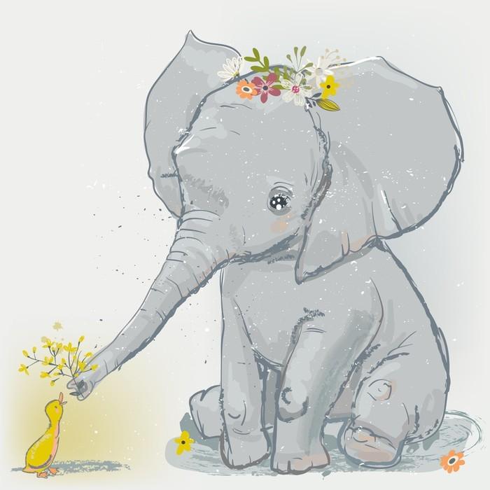 Fototapete Süßer Elefant mit kleiner Ente • Pixers® - Wir leben, um ...