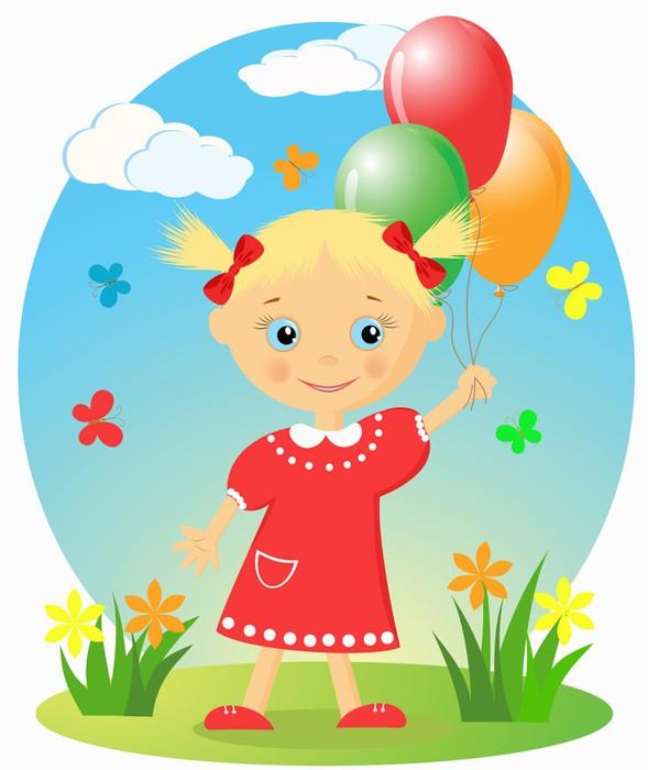Sticker petite fille heureuse avec des ballons pixers nous vivons pour changer - Stickers petite fille ...