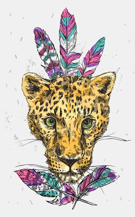 Vinylová fototapeta Vektorové ručně kreslené ilustrace leopard. - Vinylová fototapeta