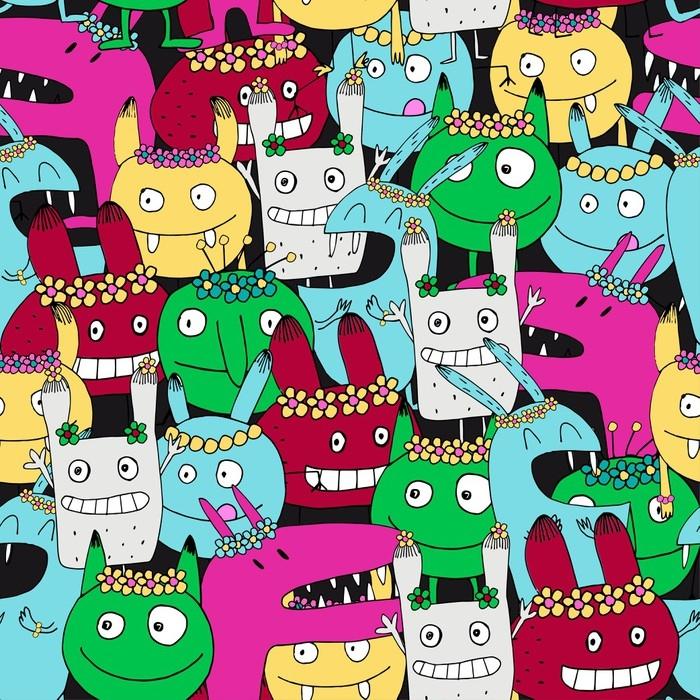 papier peint motifs mod le sans couture avec des monstres rigolos animaux et monstres. Black Bedroom Furniture Sets. Home Design Ideas