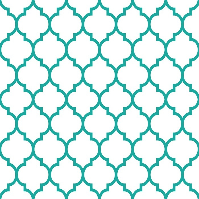 Moroccan Tiles Design Seamless Turqoise Pattern Geometric Background Vinyl Wall Mural Culture And