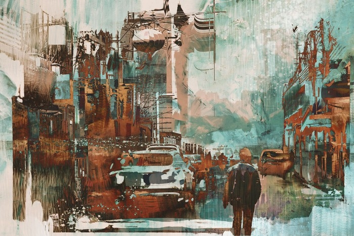 man walking in city street with abstract painting texture