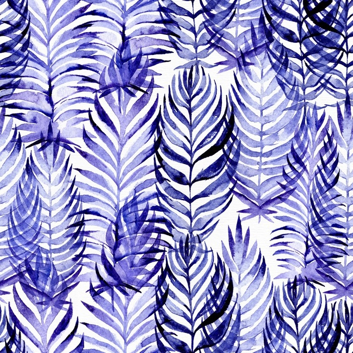 Hand drawn seamless pattern with blue palm leaves, drawn with purple and blue watercolor and brush. Leaves in different sizes and shapes. Large raster illustration, good for textile, print design Wall Mural - Vinyl - Plants and Flowers