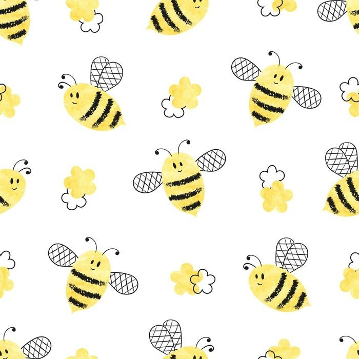 Fotomural Patrón de abejas sin costuras. ilustración vectorial ...